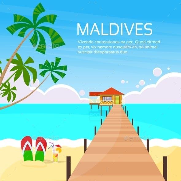Maldives Tropical Island Long Pier