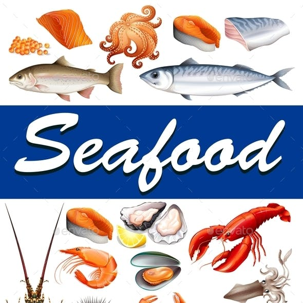 Different Kind of Seafood and Text