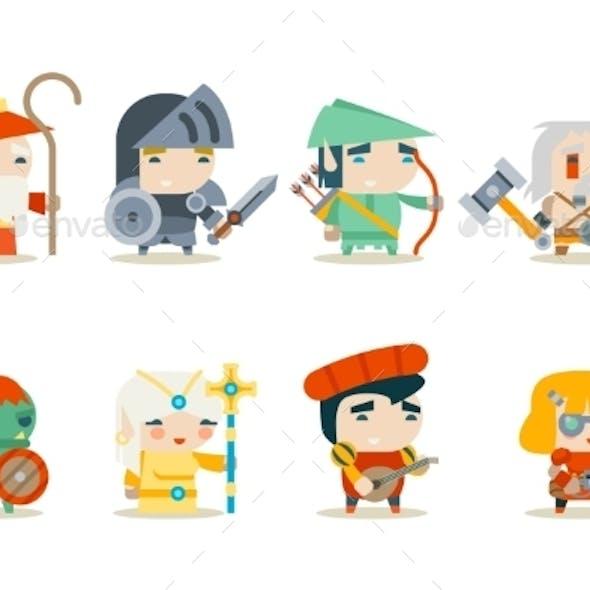 Fantasy RPG Game Character Icons Set