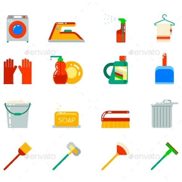 Household Cleaning Symbols Accessories Icons Set