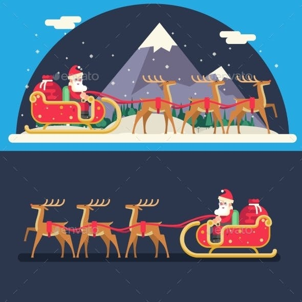Santa Claus Sleigh Reindeer Gifts Winter Snow