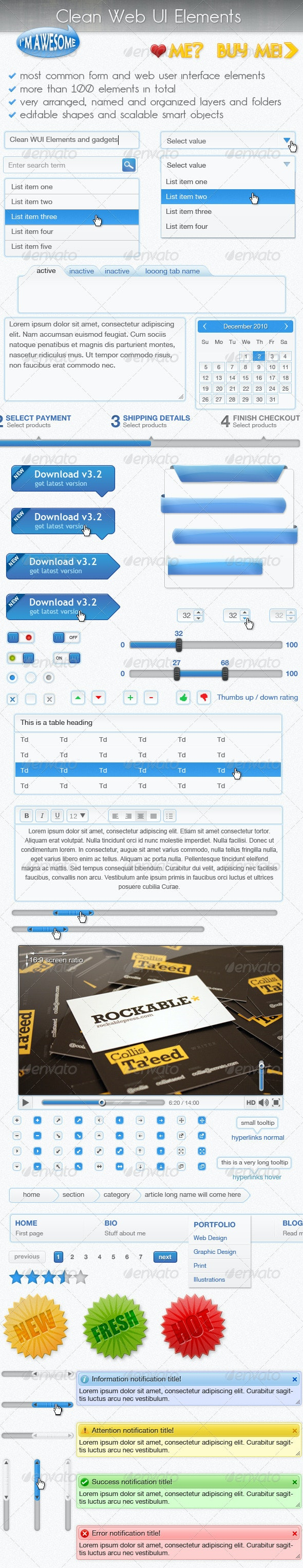 Clean Web User Interface Elements - User Interfaces Web Elements