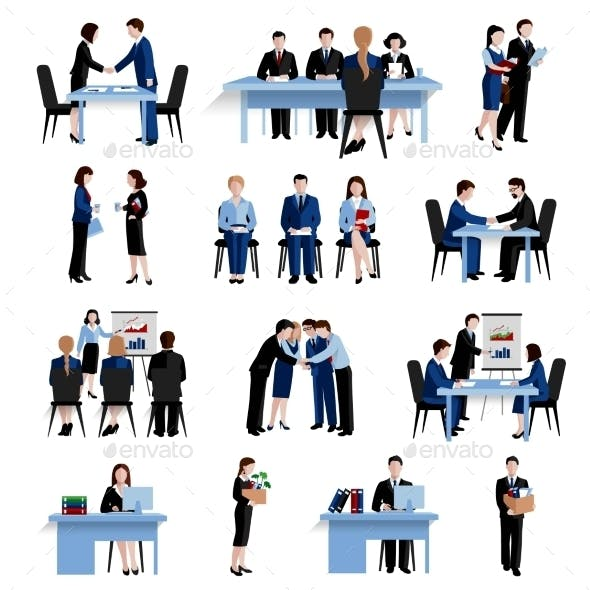 Human Resources Concept Flat Icons Set