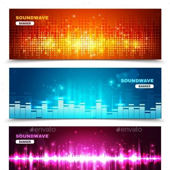 Equalizer Sound Waves Display Banners Set