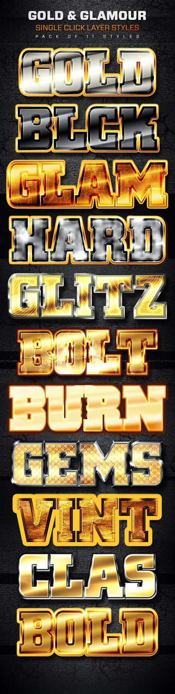 Gold and Glamour Layer Styles - Text Effects Styles