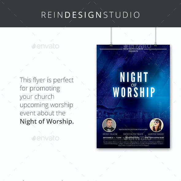 Night of Worship Church Flyer