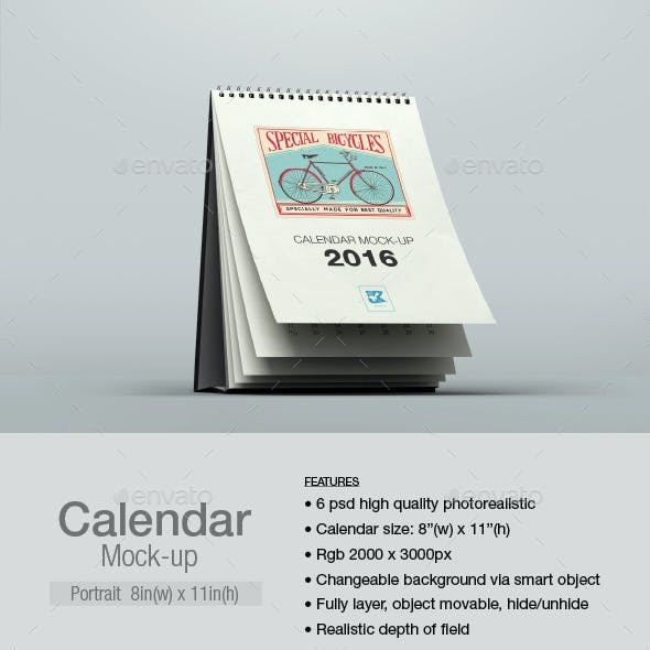Calendar Mock-up Portrait