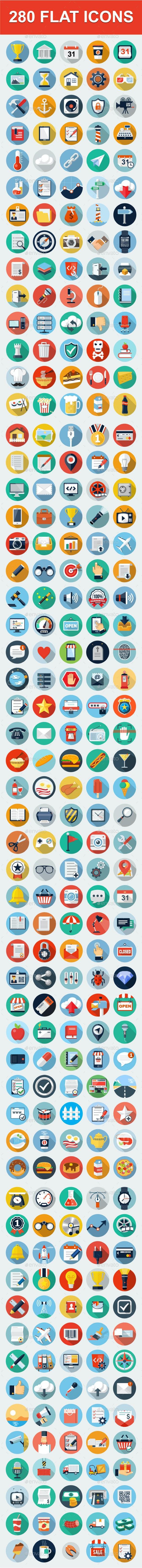 280 Flat Web icons. - Web Icons