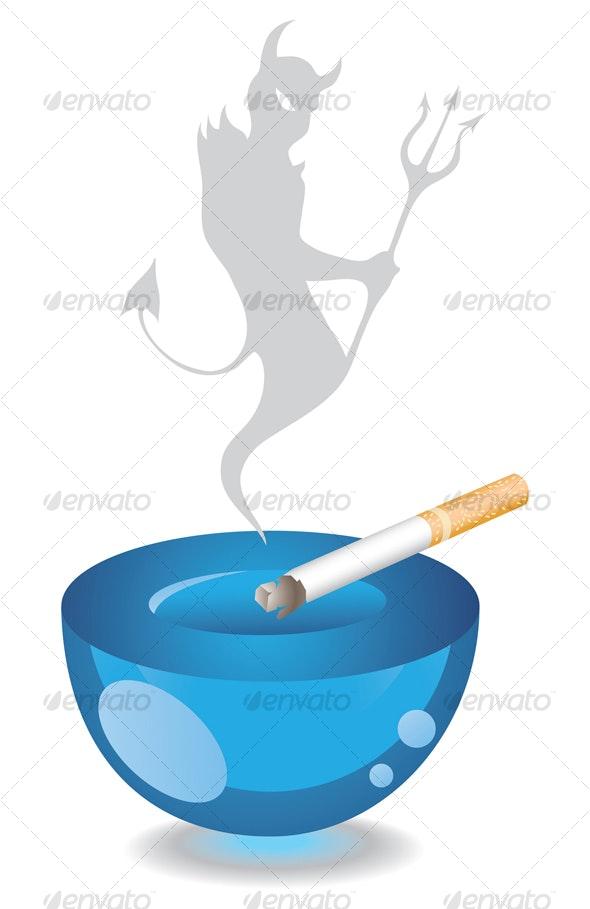 Ashtray and Cigarette - Health/Medicine Conceptual