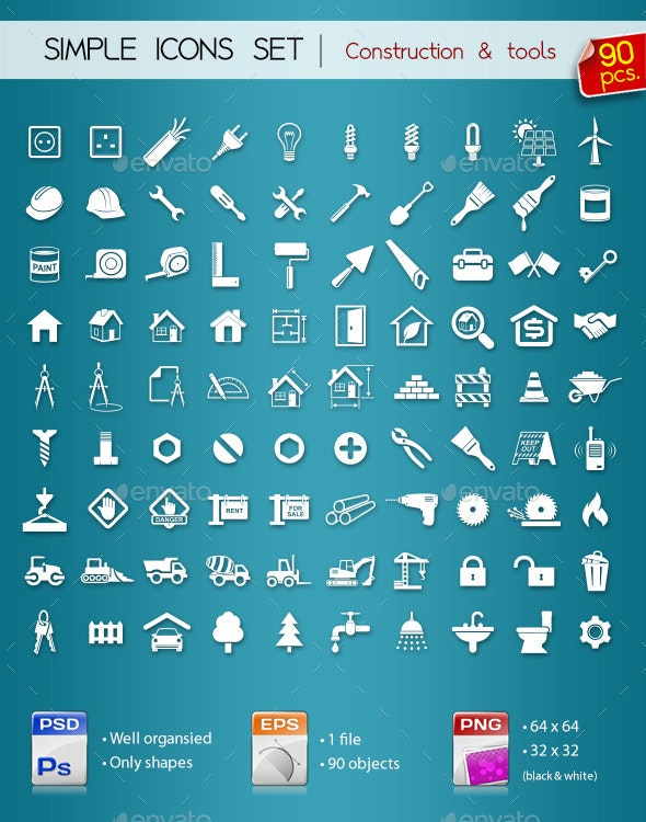 90 Simple Icons • Construction •  - Web Icons