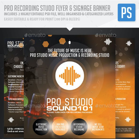 Recording Studio / Music Flyer & Signage Banner