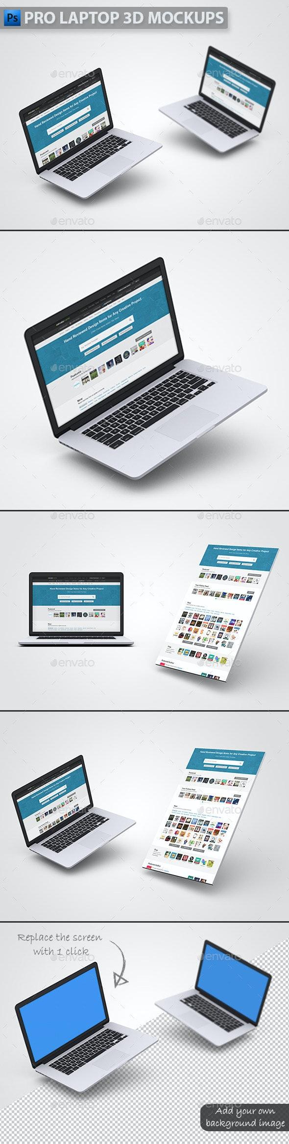 Pro Laptop 3D Mockups - Laptop Displays