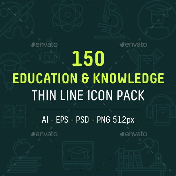 Set of Education Thin Line Icons