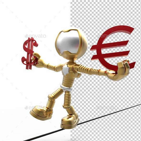 3D Gold Astronaut  Holding  Dollar Sign