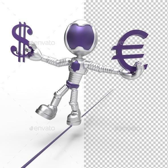 3D Silver Astronaut  Holding Dollar Sign