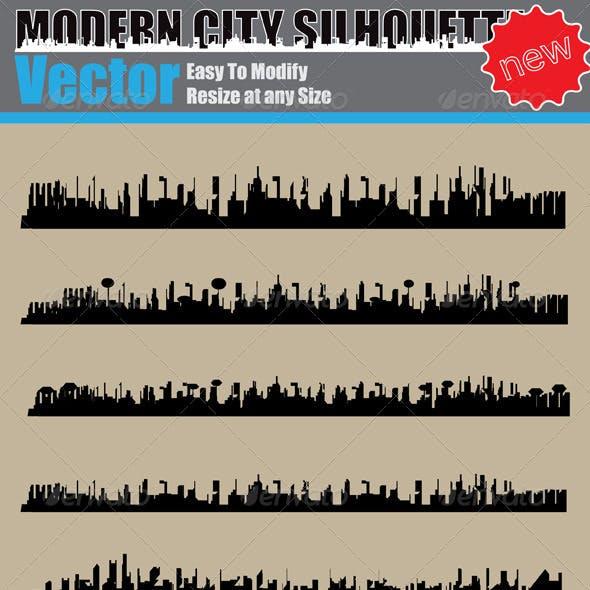 Vector Modern City Silhouette Set