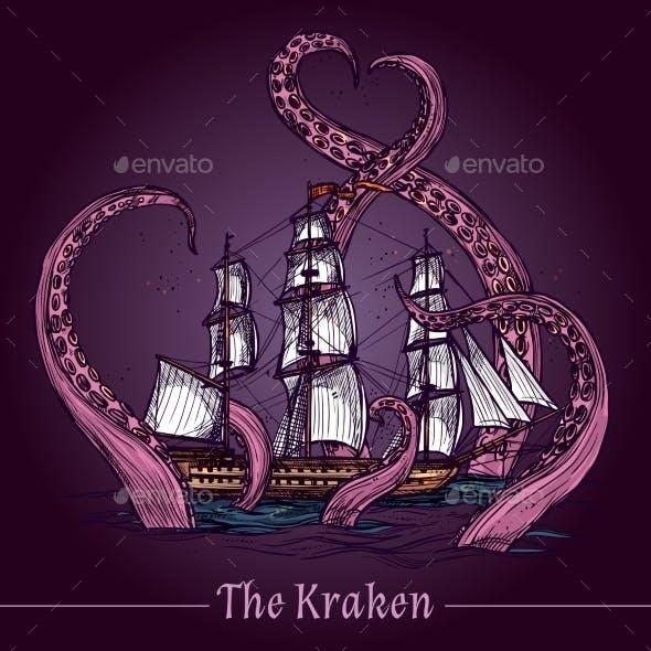 Kraken Sketch Illustration