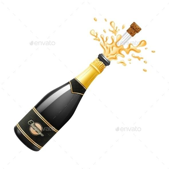 Champagne Explosion Illustration