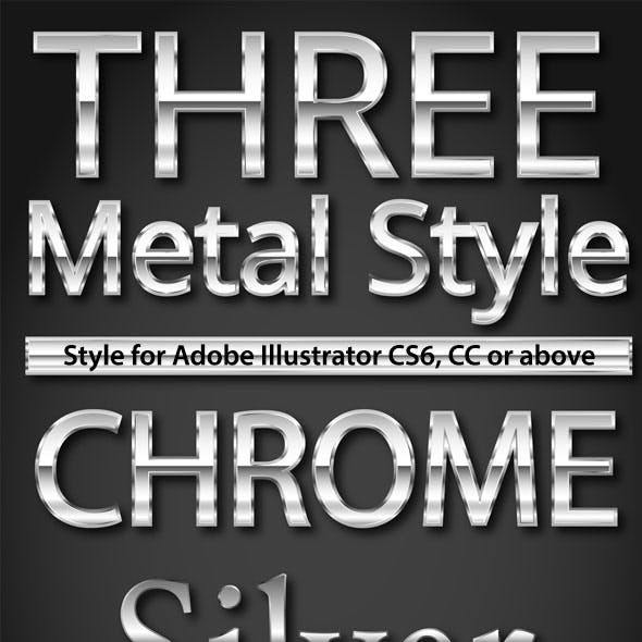 Metal Text and Shapes Styles for Adobe Illustrator