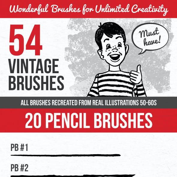 54 Vintage Brushes
