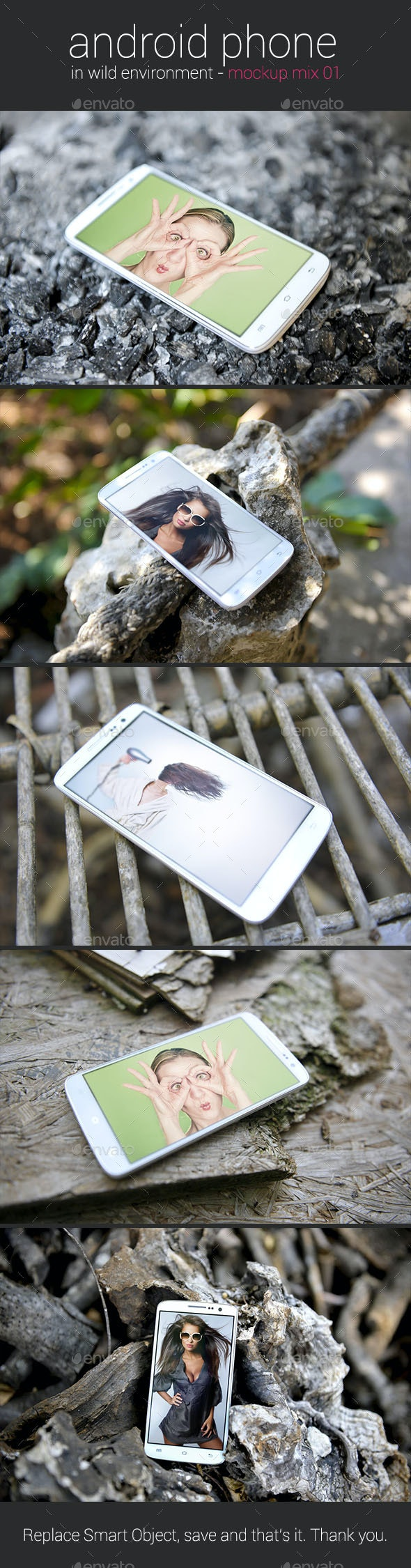Android Phone in Wild Environment - Mockup - Mobile Displays