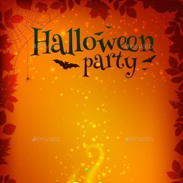Orange Halloween Poster Template With Green Potion