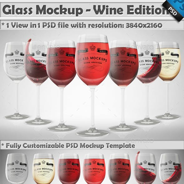 Glass Mockup - Wine Glass Mockup Volume 9