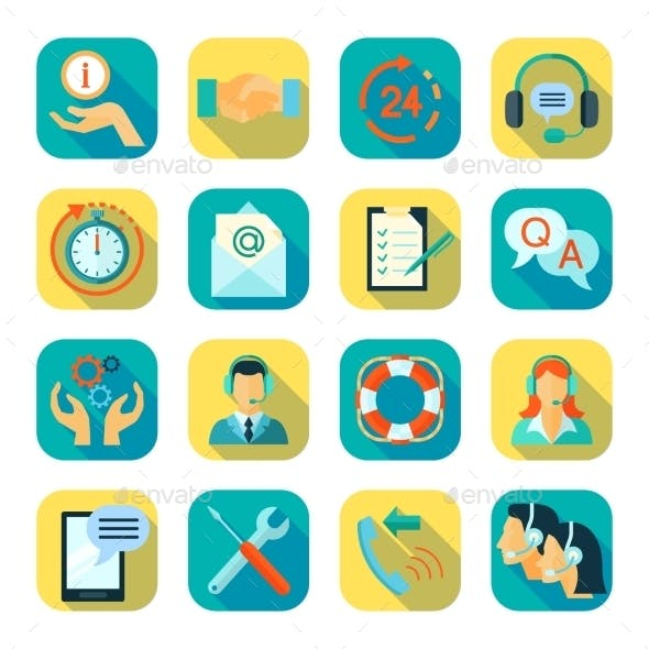 Flat Style Color Icons Set Of Technical Support