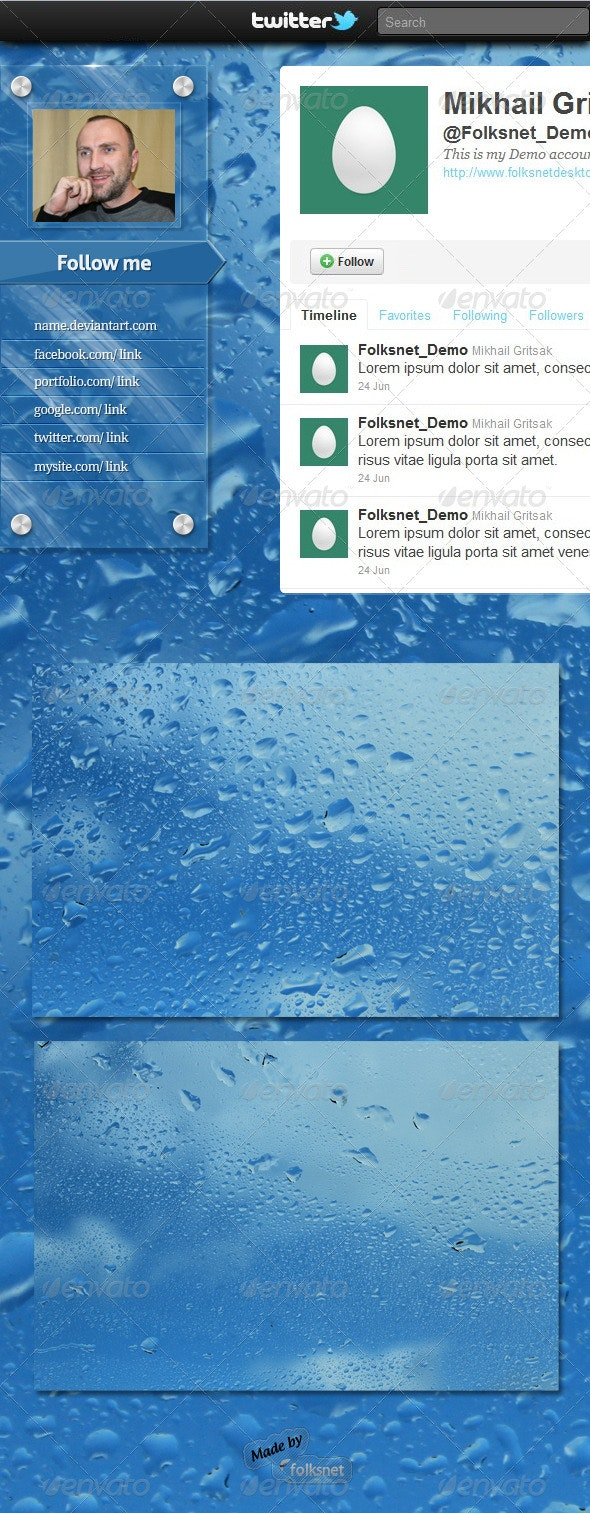 Wet Glass Twitter Background - Twitter Social Media