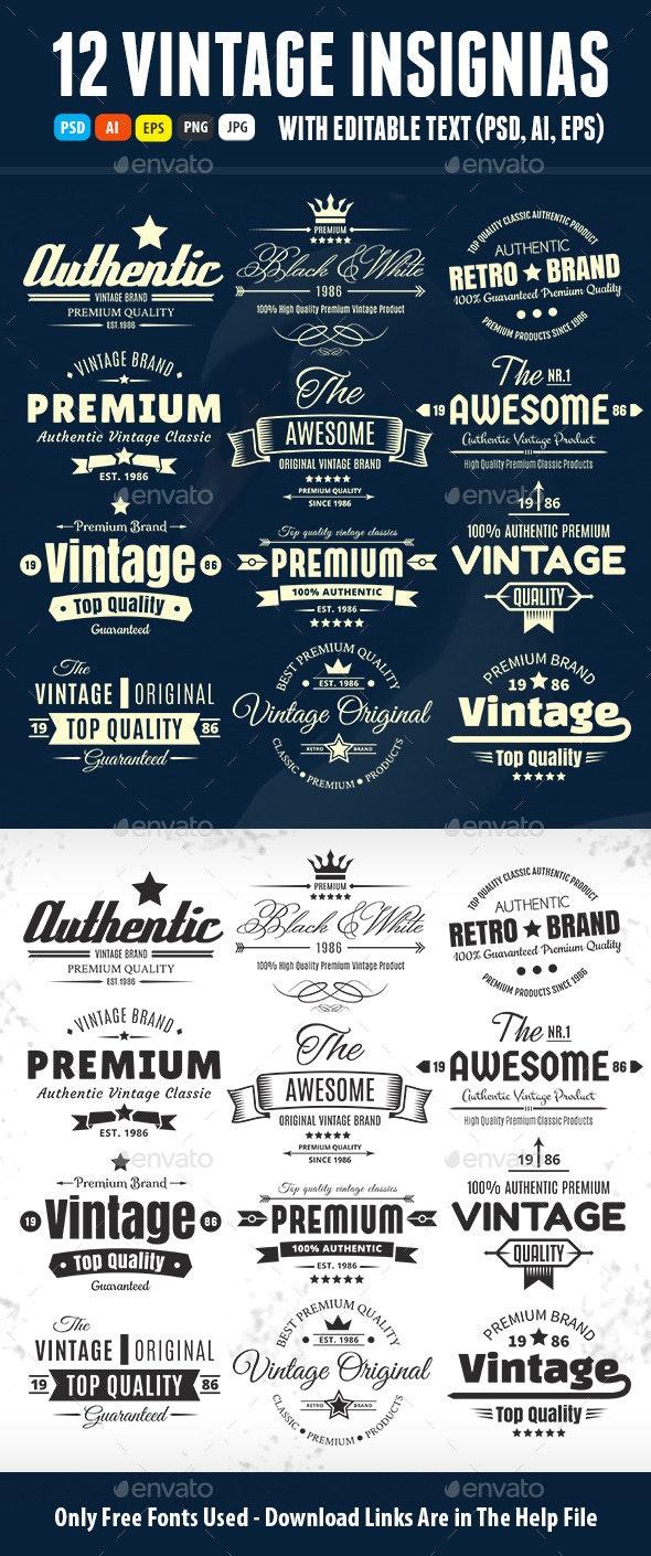 Twelve Vintage Insignias Or Labels - Badges & Stickers Web Elements