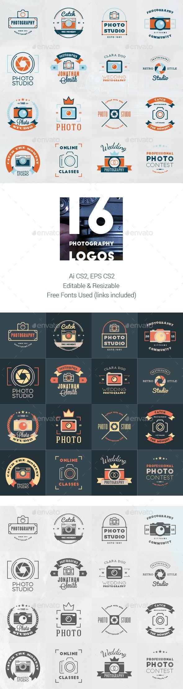 Set of 16 Photography Logos  - Badges & Stickers Web Elements