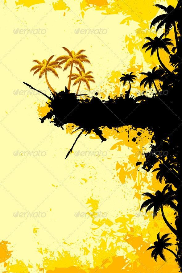 Grunge Tropical Landscape - Backgrounds Decorative