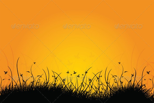 Natural Sunrise Landscape with Grass - Landscapes Nature