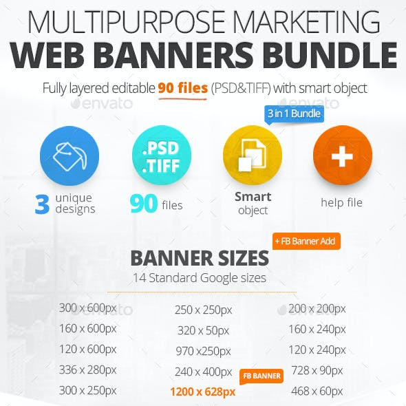 Multipurpose Marketing Web Banners & FB Banner