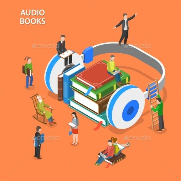 Audio Books Isometric Flat Vector Concept