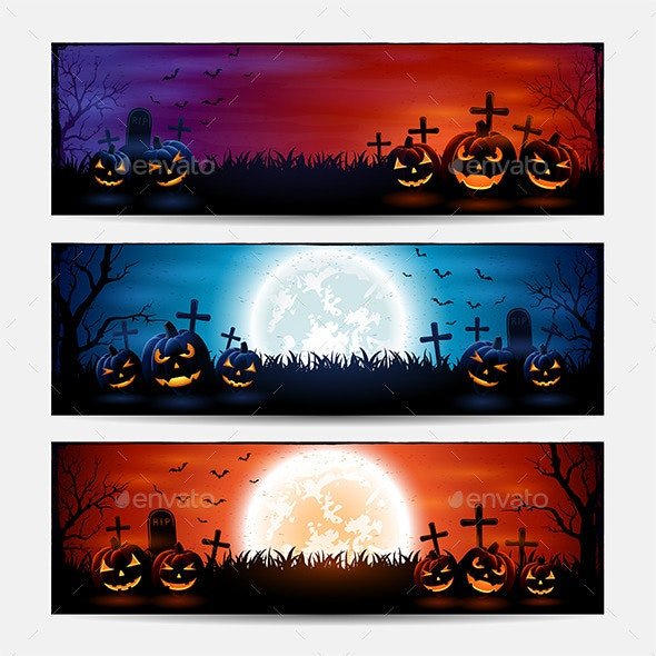 Halloween Banners with Pumpkins - Halloween Seasons/Holidays