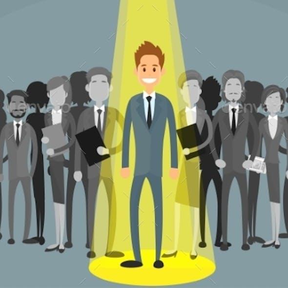 Businessman Spotlight Human Resource Recruitment