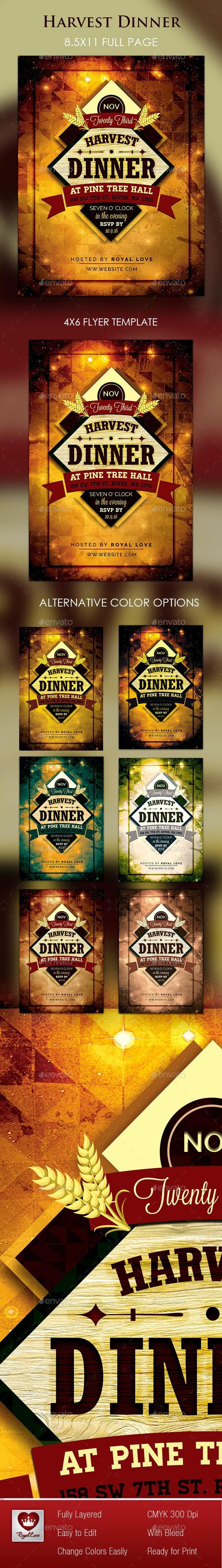 Harvest Dinner Flyer  - Holidays Events