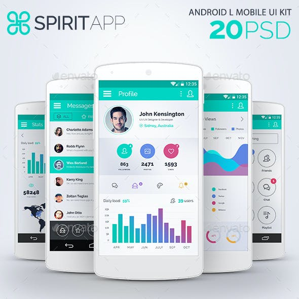 SpiritApp White - Android Mobile Design UI Kit