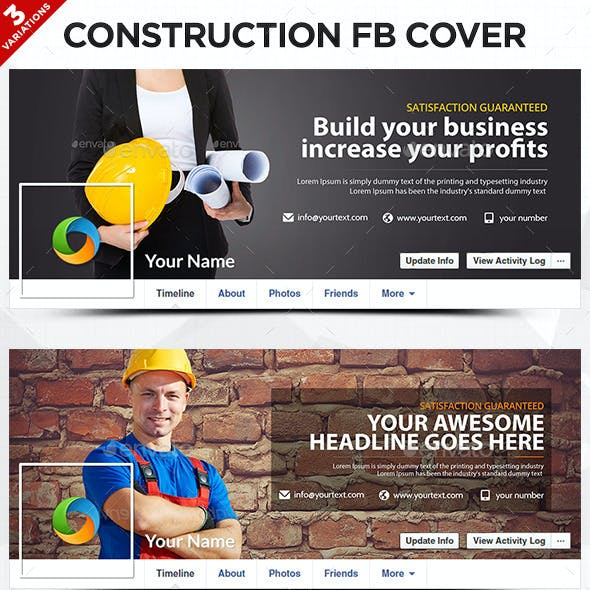 Construction Facebook Covers - 3 Designs
