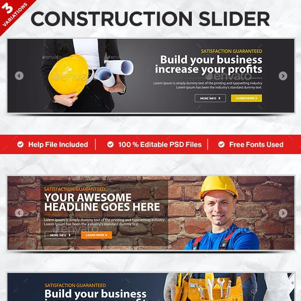 Construction Sliders - 3 Designs