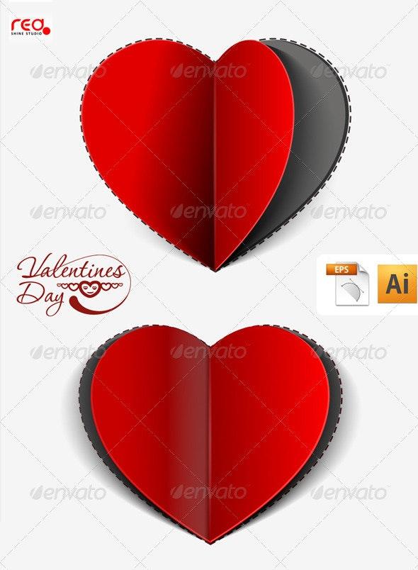 Paper Cut Heart Greeting Card Design - Valentines Seasons/Holidays