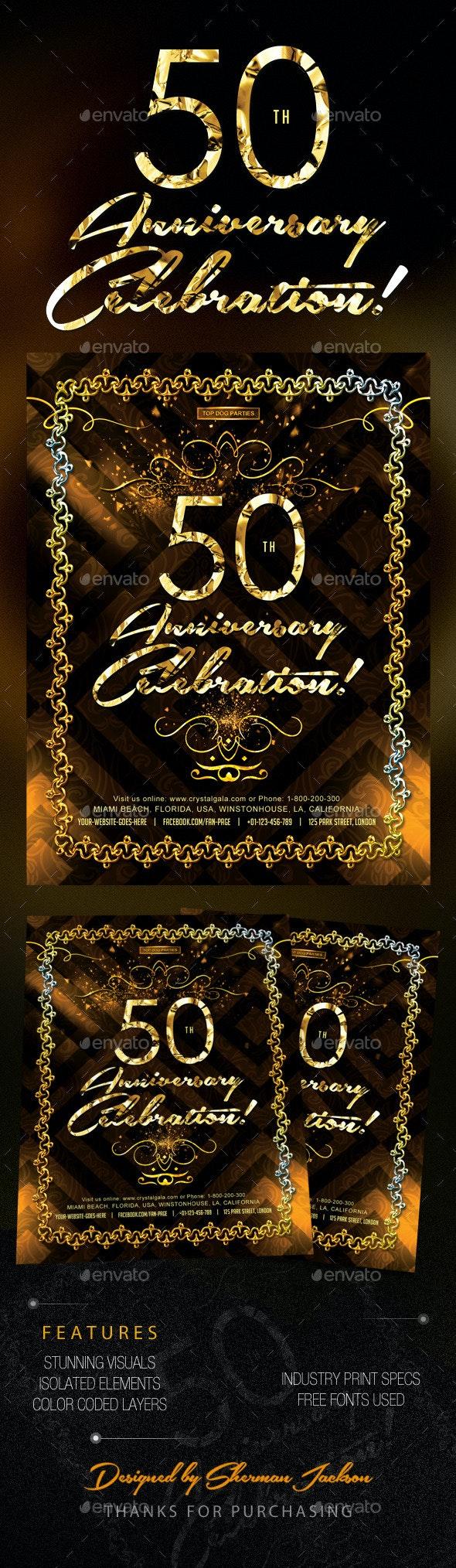 Golden 50th Anniversary & Birthday Celebrations - Invitations Cards & Invites