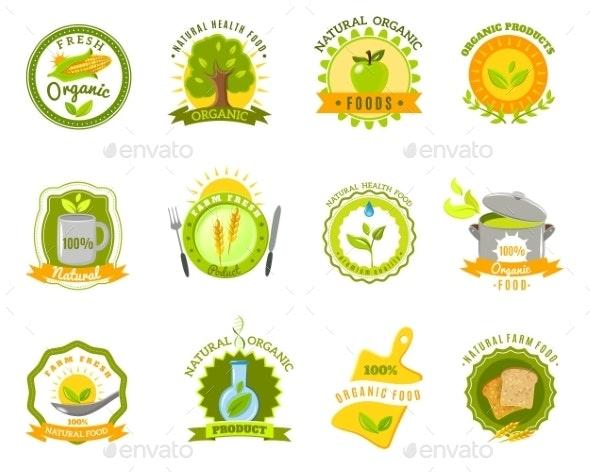 Organic Food Brands Labels Templates Set Flat - Organic Objects Objects