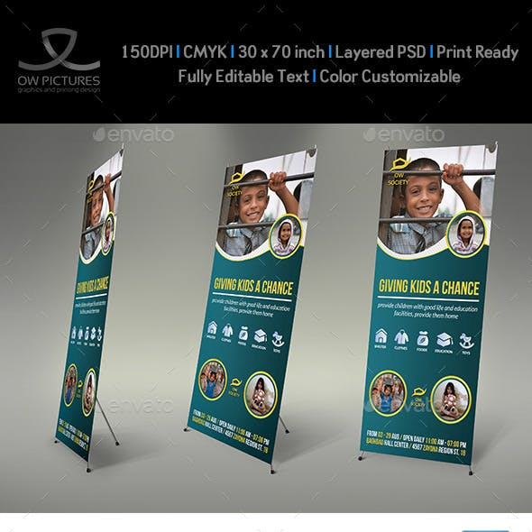 Kids Charity Signage Roll Up Banner Template