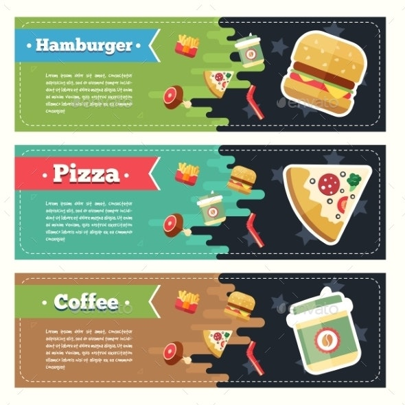 Vector Concept Fast Food Flat Banner Set. - Animals Characters