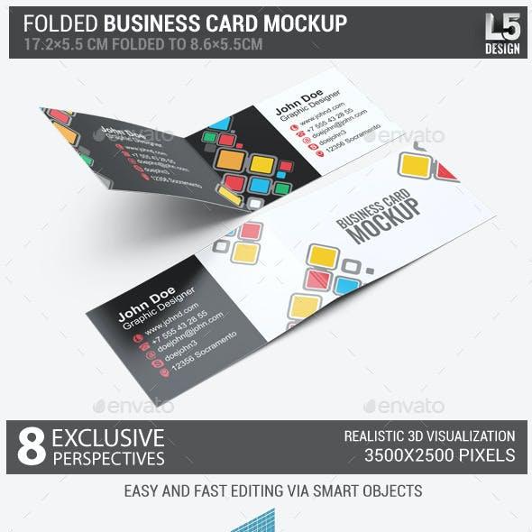Folded Business Card Mock-Up