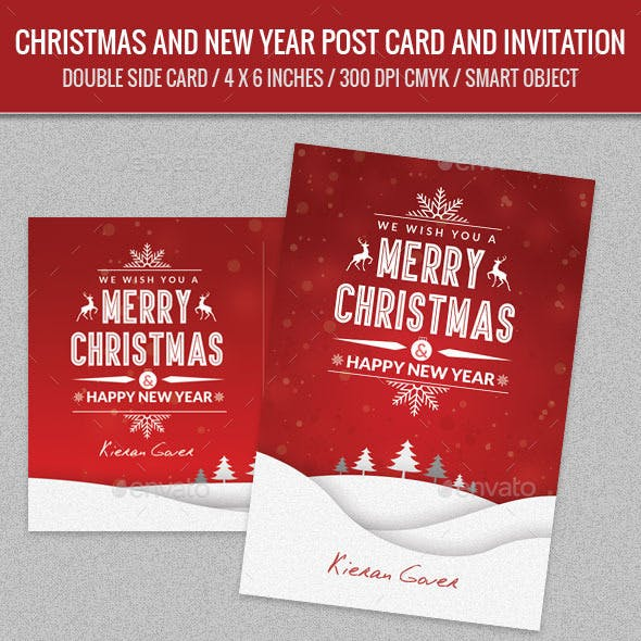 Christmas Greeting and New Year Post Card Template