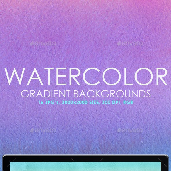 16 Watercolor Gradient Backgrounds
