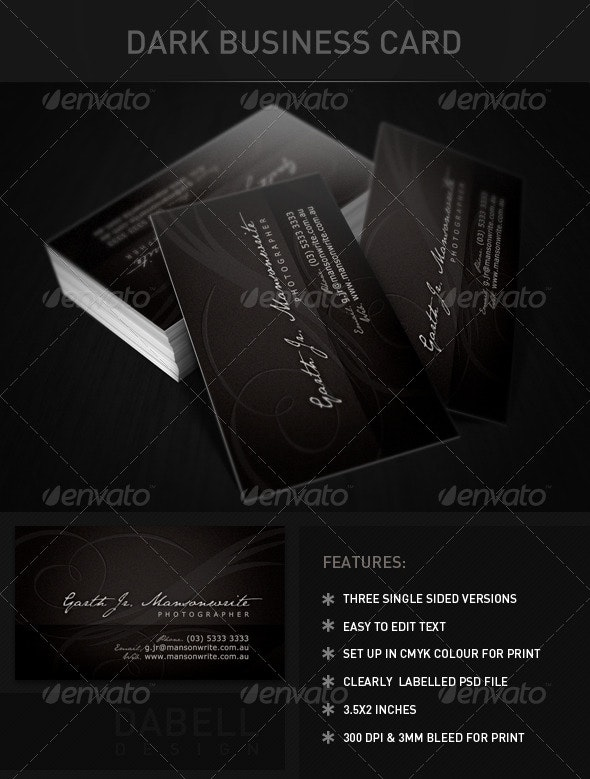 Dark Business Card - Corporate Business Cards